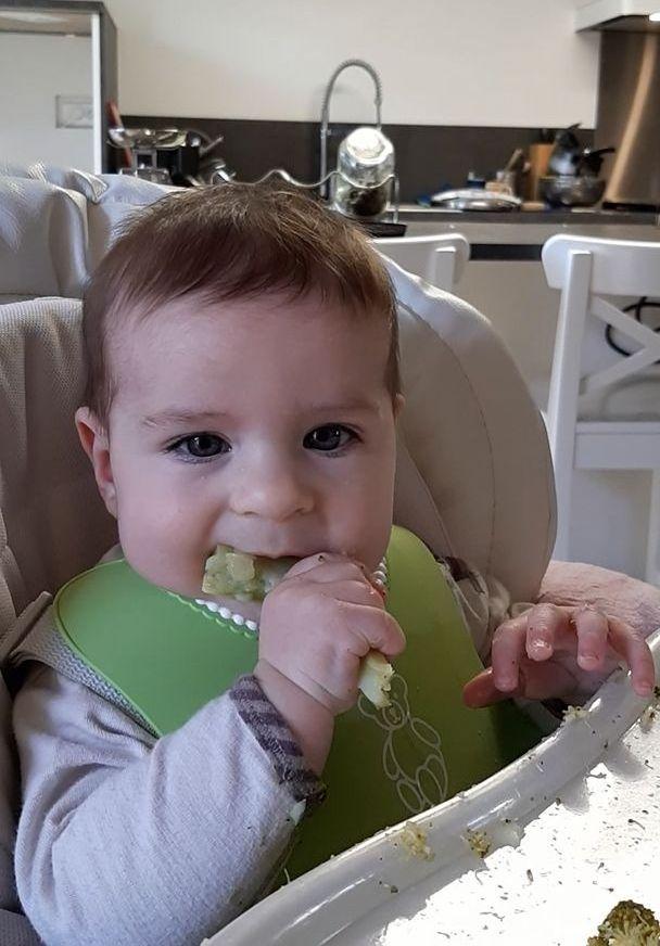 Bébé qui mange du brocoli